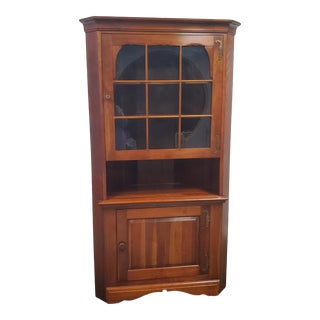 Vintage Provincial Bucks County Hand Made Corner China Hutch For Sale