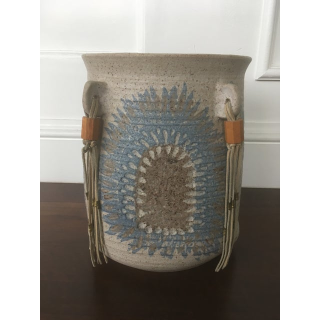 Vintage Mid Century Feather Native American Style Pottery Planter For Sale - Image 13 of 13