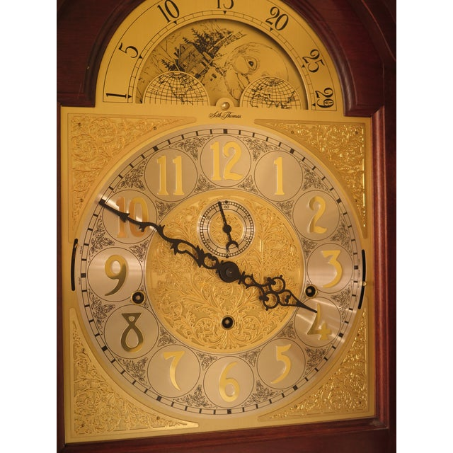 Cherry Wood Seth Thomas Cherry Tall Case Grandfather Clock For Sale - Image 7 of 11