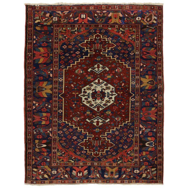 Blue Antique Bakhtiari Persian Rug with Traditional Modern Style For Sale - Image 8 of 8