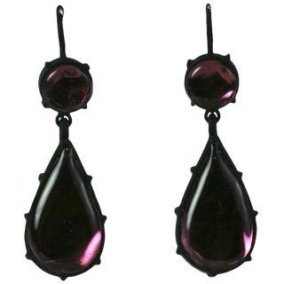 Mwlc Georgian Style Amythest Foil Drop Earrings For Sale