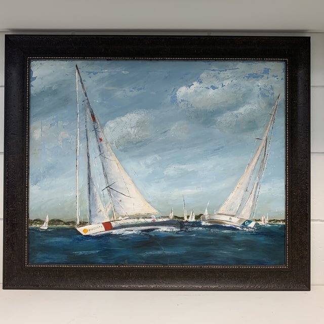 Beautiful antique painting of sailboats. Layers of paint give dimension and shows the age (in a good way). The distant...