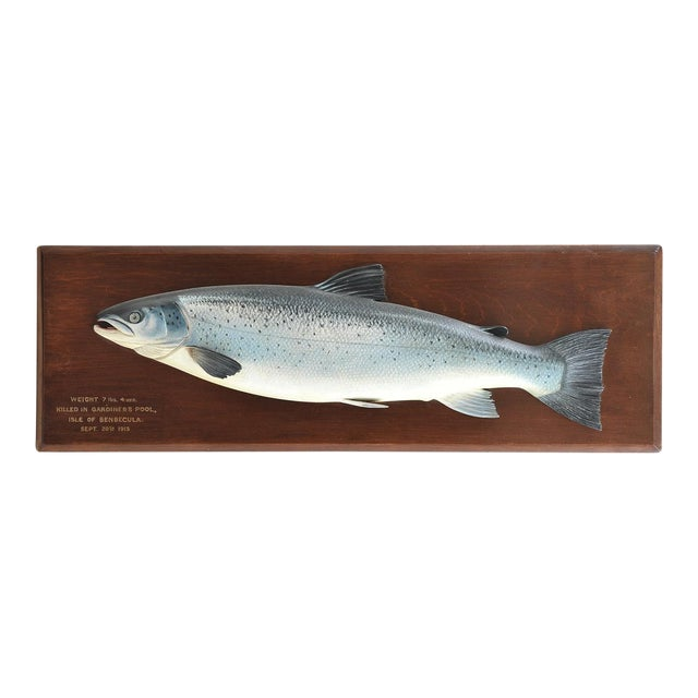 CARVED FISH PLAQUE OF A RARE SEA TROUT - Image 1 of 3
