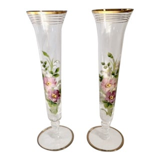 Floral Motif Glass Bud Vases - a Pair For Sale
