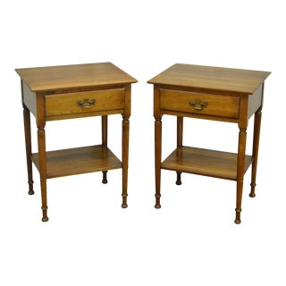 Stickley Cherry Valley Traditional One Drawer Nightstands - a Pair