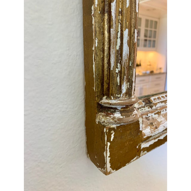 1970s Vintage 1970s Hand-Carved Gold Distressed Mirror For Sale - Image 5 of 8