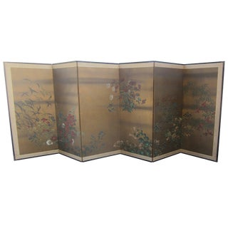 Large Japanese Six-Panel Screen For Sale