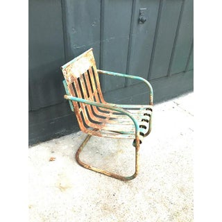 1930s Antique Green Metal Patio Chair Preview