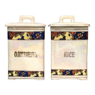 Vintage Ceramic Oatmeal & Rice Canisters - a Pair For Sale