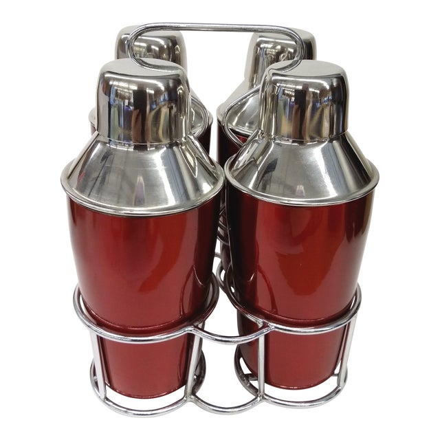Cocktail Shakers & Stainless Holder - Set of 4 - Image 1 of 7