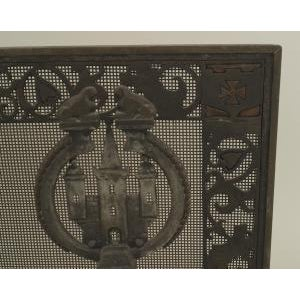 American Arts and Crafts wrought iron and bronze fire place andirons and screen For Sale - Image 4 of 11