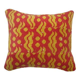 Vintage Red Yellow Cintamani Turkish Deco Rug Pillow For Sale