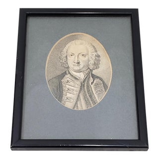 """Lord Anson, First Lord of the Admiralty"" Miniature Portrait Engraving, 18th to 19th C. For Sale"