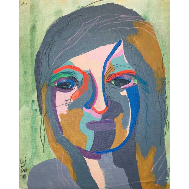 """Contemporary Abstract Portrait Painting """"She's the Girl"""" - Framed For Sale"""