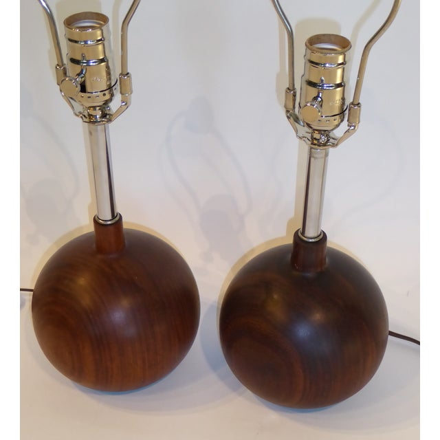Danish Modern 1960s Brazilian Rosewood Orb Table Lamps Denmark - a Pair For Sale - Image 4 of 8