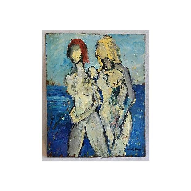 Midcentury Williard Wiener, Abstract Nudes Walking on Beach Oil Painting - Image 7 of 7
