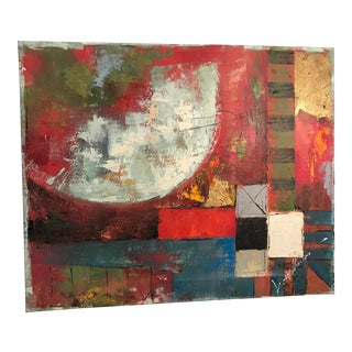Vintage Abstract Oil Painting on Canvas For Sale