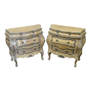 Italian Vintage Italian Painted Bombe Commode Nightstand Chests - a Pair