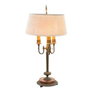 Antique French Empire Bronze and Marble 3 Light Bouillotte Lamp For Sale