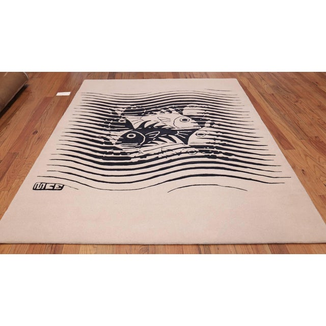 Vintage Maurits Escher Scandinavian Black and White Rug - 5′7″ × 8′ For Sale In New York - Image 6 of 10