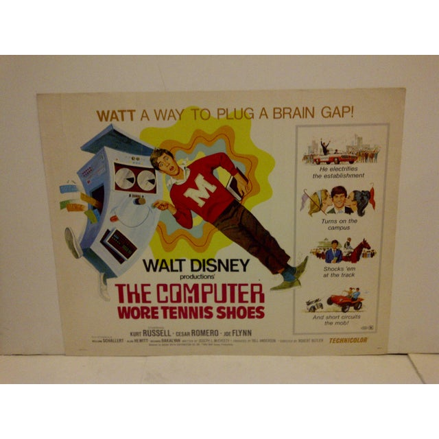 """This is a vintage movie poster of """"The Computer Wore Tennis Shoes"""" in 1970 starring Kurt Russel. The poster is in good..."""