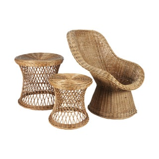 1970s Boho Chic Wicker Chair and Side Tables - 3 Piece Set For Sale