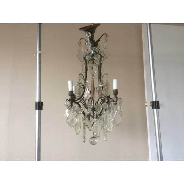 French Four Light Chandelier With Cut Crystal Prisms For Sale - Image 9 of 12