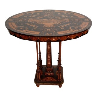 Vintage Inlaid Octagonal Table, Italy For Sale