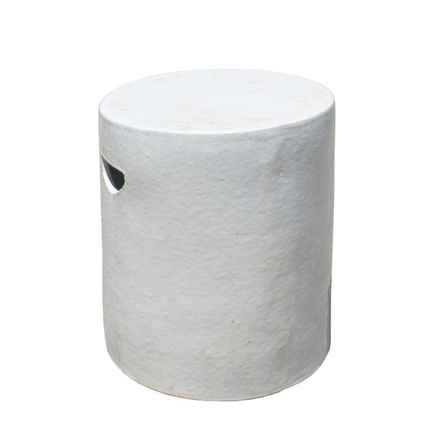 Chinese Ceramic Clay Off White Glaze Round Flat Column Garden Stool For Sale In San Francisco - Image 6 of 6