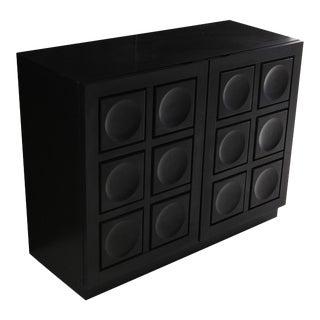 Geometric Two-Door Cabinet in Ebonized Oak For Sale