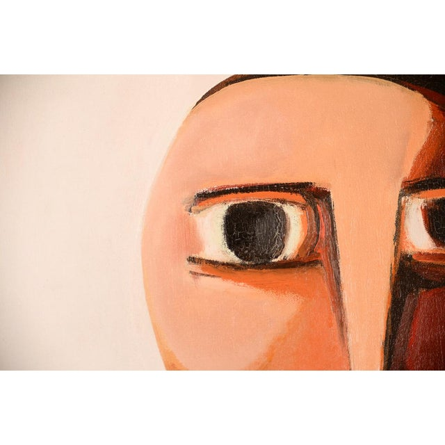 1960s Antonio Guanse 'Abstract Face by the Window' Oil Painting -1960s For Sale - Image 5 of 10