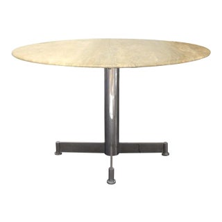 Travertine & Chrome Steel Round Dining Table For Sale
