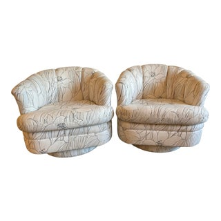Pair of Channel Back Swivel Club Chairs For Sale
