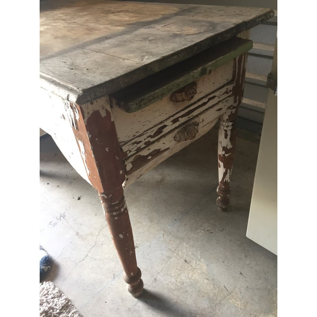 Antique Baking Cabinet Wood Table For Sale - Image 4 of 7