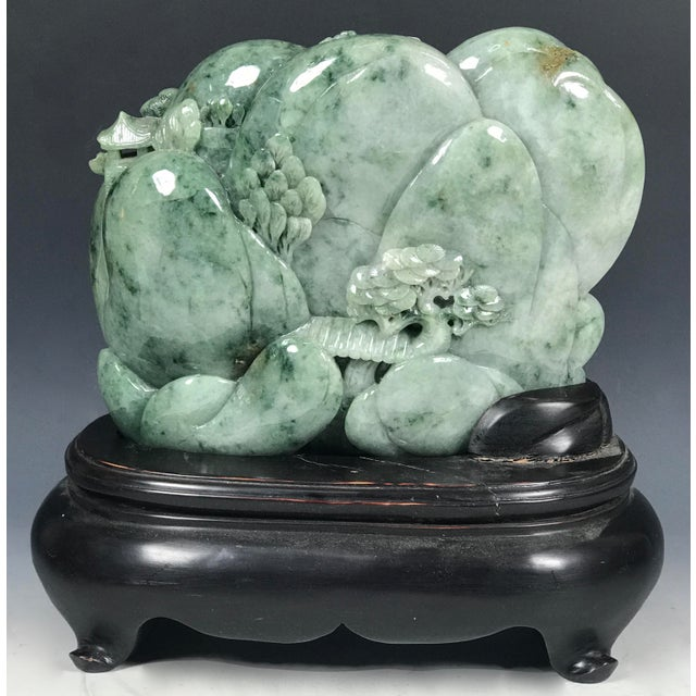 Chinese Art Carved Green Jade Mountain With People - Image 5 of 11