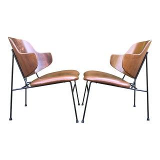 1960s Danish Modern Kofod Larsen for Selig Walnut/Iron Penguin Chairs - a Pair