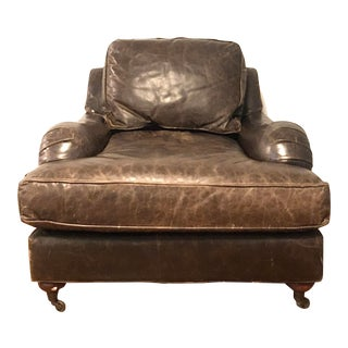 Restoration Hardware English Roll Arm Leather Chair For Sale