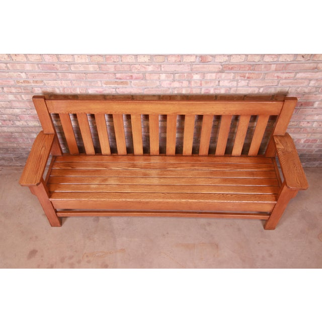 Wood Antique Stickley Style Arts & Crafts Solid Oak Settle or Bench For Sale - Image 7 of 13