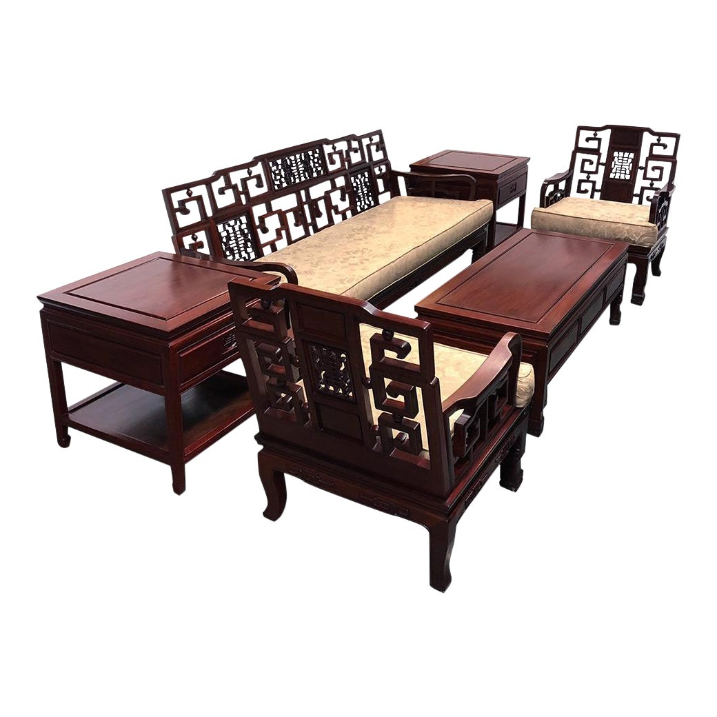 Chinese antique carved rosewood sofa tables set set of 6 chairish