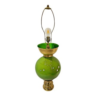 Candy Apple Green Gord Style Lamp With Brass and Silver Details For Sale
