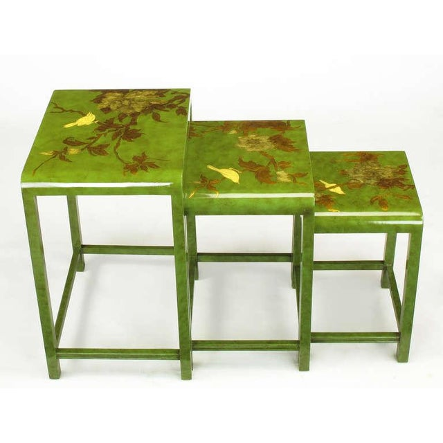 Three Embossed & Parcel Gilt Rich Jade Green Nesting Tables - Image 3 of 10