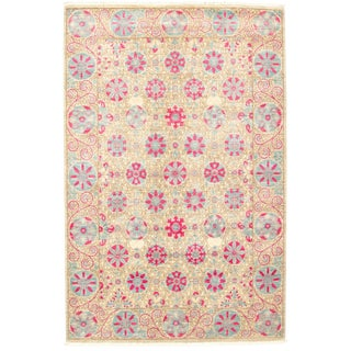 """6'2"""" X 9'4 Colorful Pink Hand-Knotted Area Rug For Sale"""