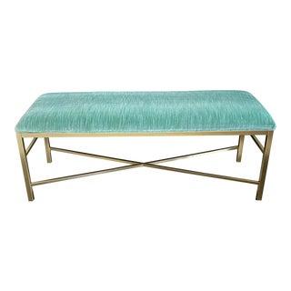 Modern Gold Metal Bench in Green Velvet Fabric For Sale