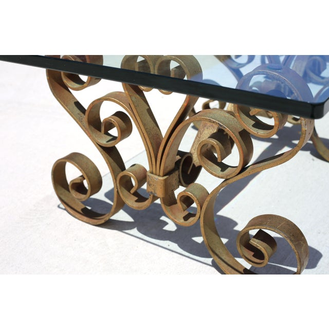 Gold Vintage Iron Scroll Cocktail Table With Thick Glass Top For Sale - Image 8 of 9