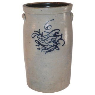 19th Century Butter Churn Crock With Blue Decoration For Sale