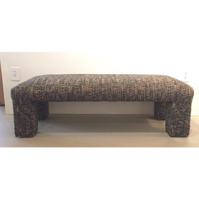 Vintage Tweed Upholstered Bench - Image 2 of 6