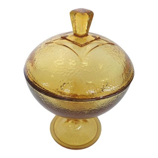 Jeannette Glass Yellow Amber Textured Vintage Candy Dish With Lid For Sale