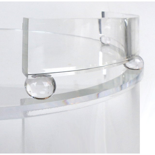 Tall Round Custom Lucite & Glass Bar Cart on Casters For Sale - Image 4 of 8