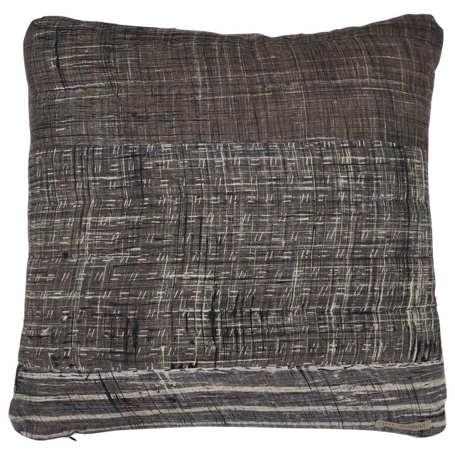 Indian Patchwork Grey Pillow For Sale