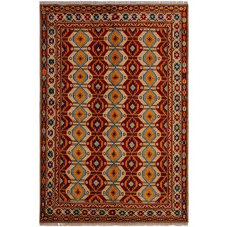1990s Vintage Balouchi Christin Ivory/Red Wool Rug - 5′ × 6′8″ For Sale